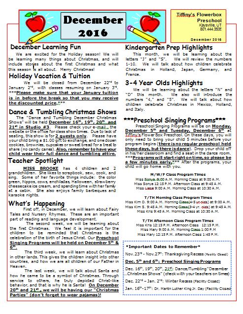 preschool news letter