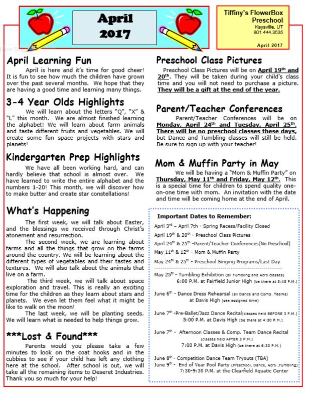 preschool april newsletter april newsletter tiffiny s flower box preschool 477